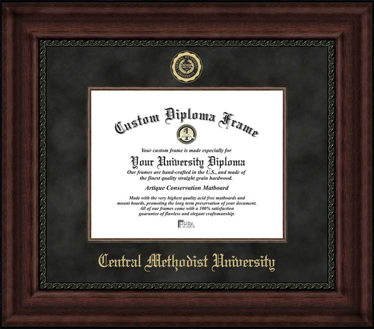 College - Central Methodist University Eagles - Embossed Seal - Suede Mat - Mahogany - Diploma Frame