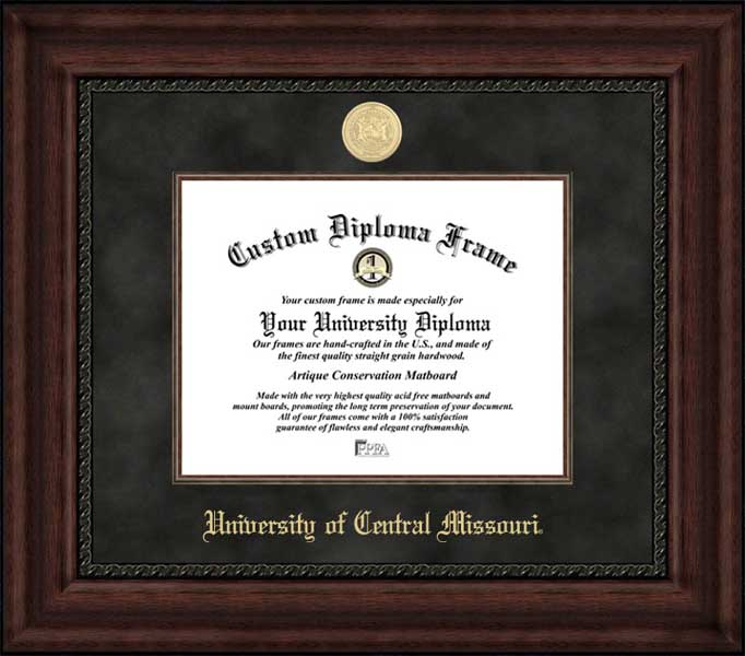College - University of Central Missouri Mules - Gold Medallion - Suede Mat - Mahogany - Diploma Frame