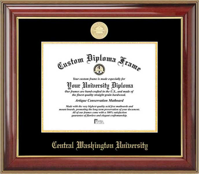 College - Central Washington University Wildcats - Gold Medallion - Mahogany Gold Trim - Diploma Frame