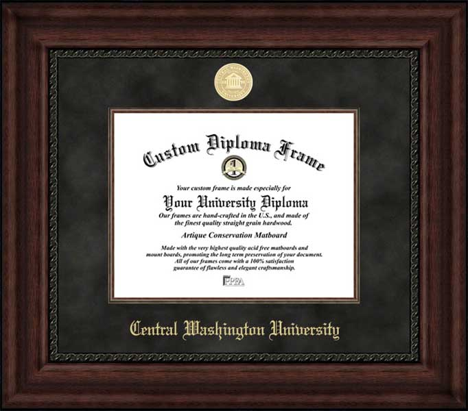College - Central Washington University Wildcats - Gold Medallion - Suede Mat - Mahogany - Diploma Frame