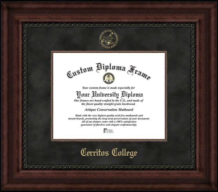 College - Cerritos College Falcons - Embossed Seal - Suede Mat - Mahogany - Diploma Frame