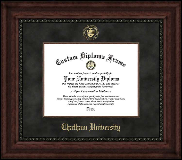 College - Chatham University Cougars - Embossed Seal - Suede Mat - Mahogany - Diploma Frame