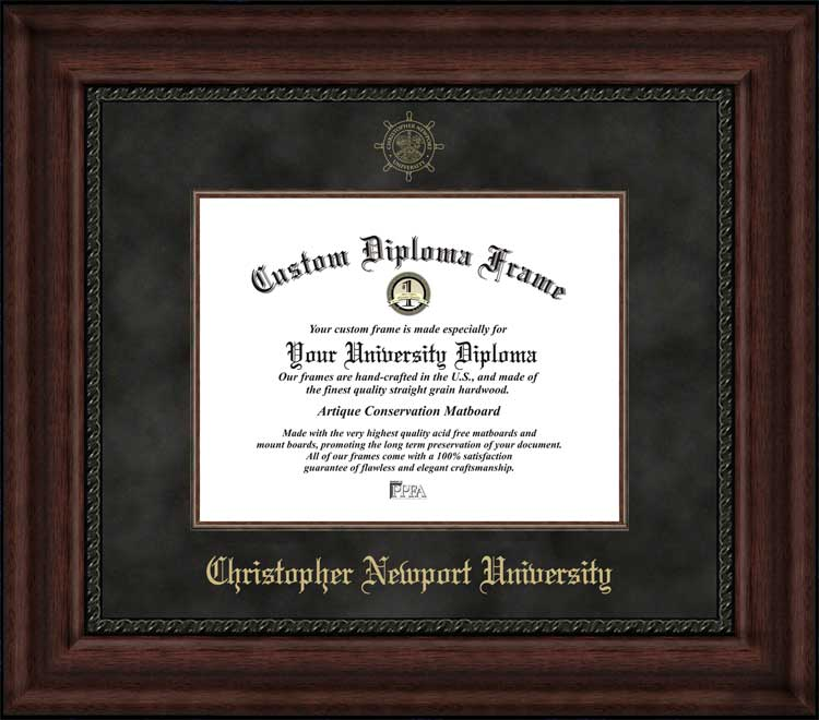 College - Christopher Newport University Captains - Embossed Seal - Suede Mat - Mahogany - Diploma Frame