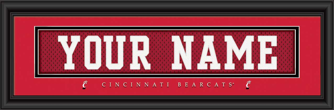 College - Cincinnati Bearcats - Personalized Jersey Nameplate - Framed Picture