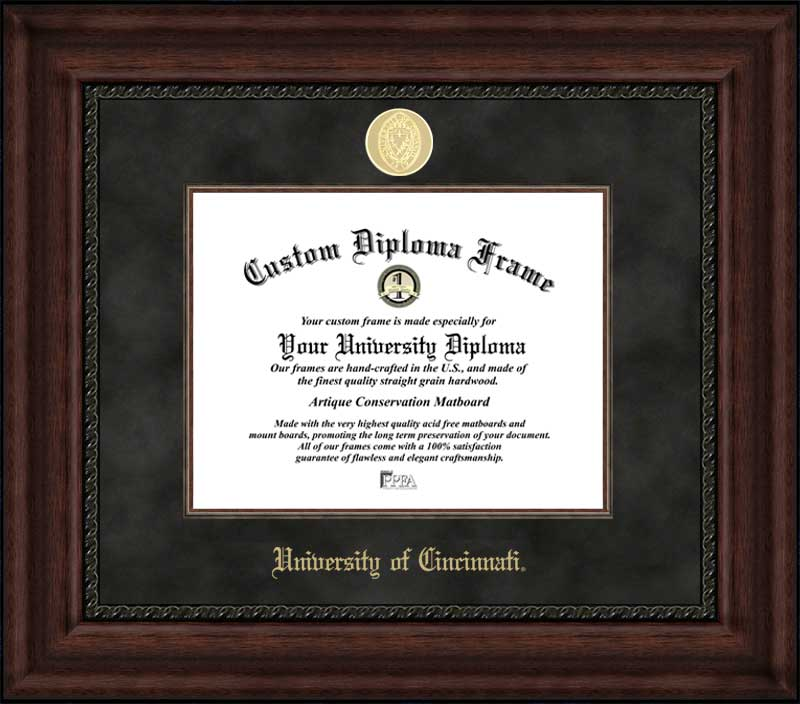 College - University of Cincinnati Bearcats - Gold Medallion - Suede Mat - Mahogany - Diploma Frame