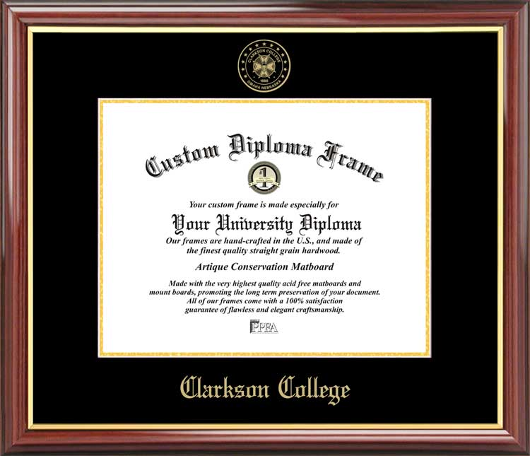 College - Clarkson College  - Embossed Seal - Mahogany Gold Trim - Diploma Frame