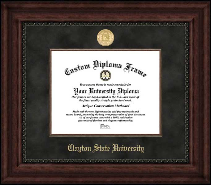 College - Clayton State University Lakers - Gold Medallion - Suede Mat - Mahogany - Diploma Frame