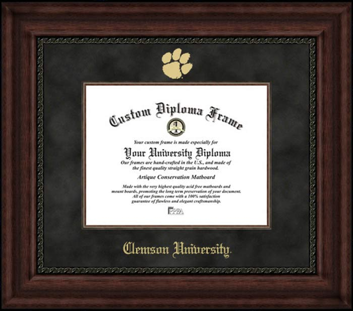College - Clemson University Tigers - Embossed Logo - Suede Mat - Mahogany - Diploma Frame