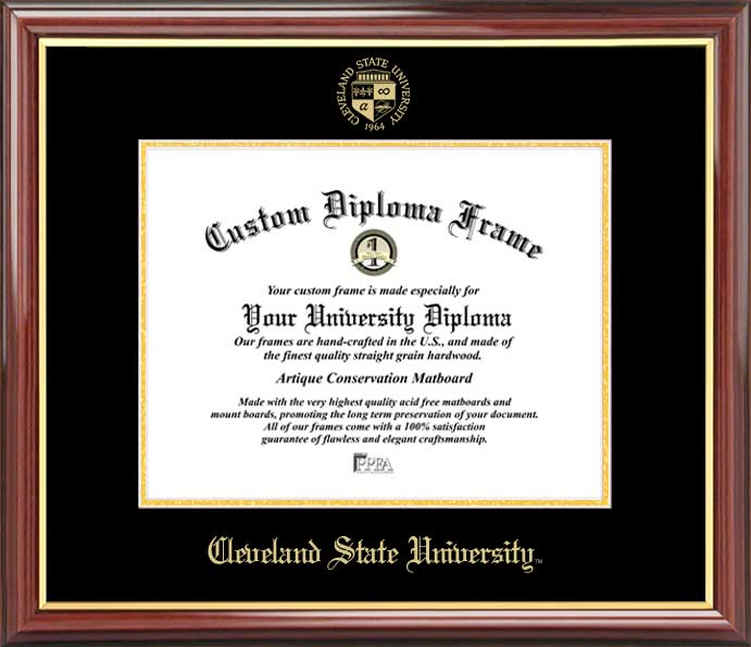 College - Cleveland State University Vikings - Embossed Seal - Mahogany Gold Trim - Diploma Frame