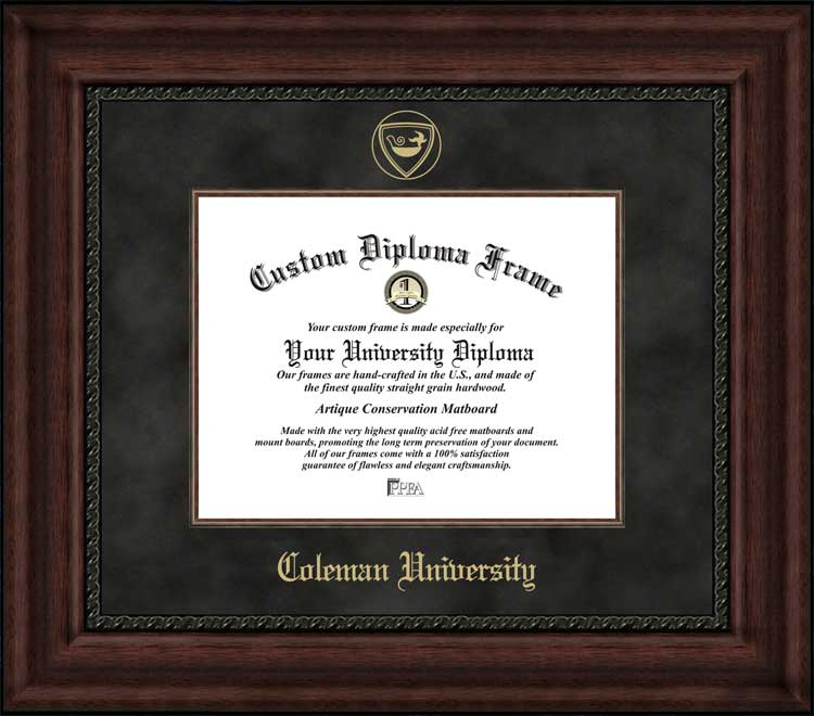 College - Coleman University  - Embossed Seal - Suede Mat - Mahogany - Diploma Frame