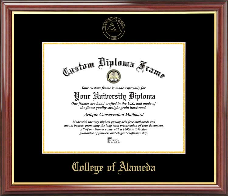 College - College of Alameda  - Embossed Seal - Mahogany Gold Trim - Diploma Frame
