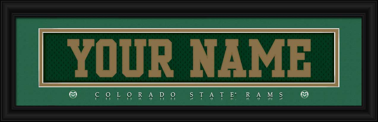 College - Colorado State Rams - Personalized Jersey Nameplate - Framed Picture