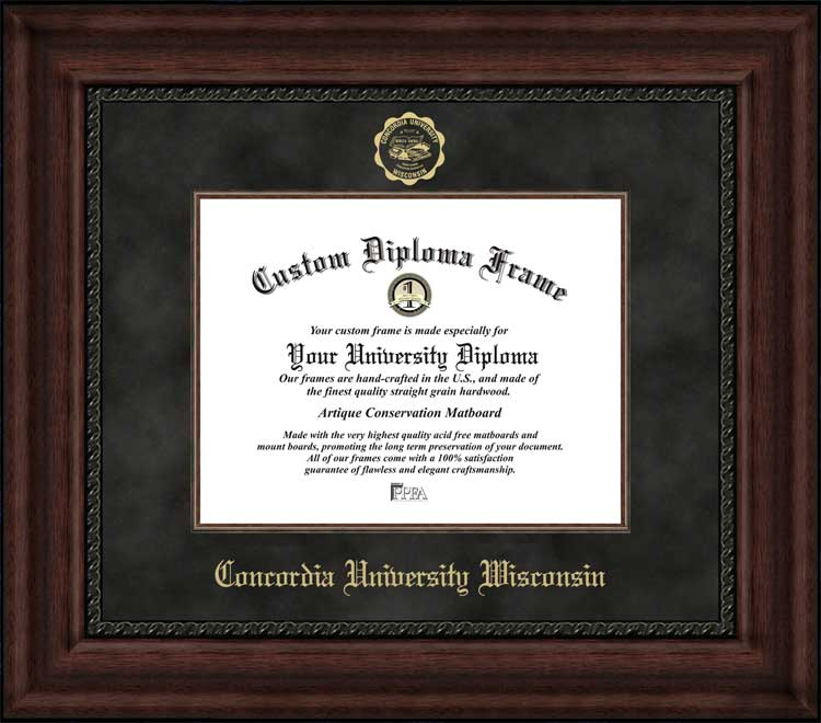 College - Concordia University Wisconsin Falcons - Embossed Seal - Suede Mat - Mahogany - Diploma Frame