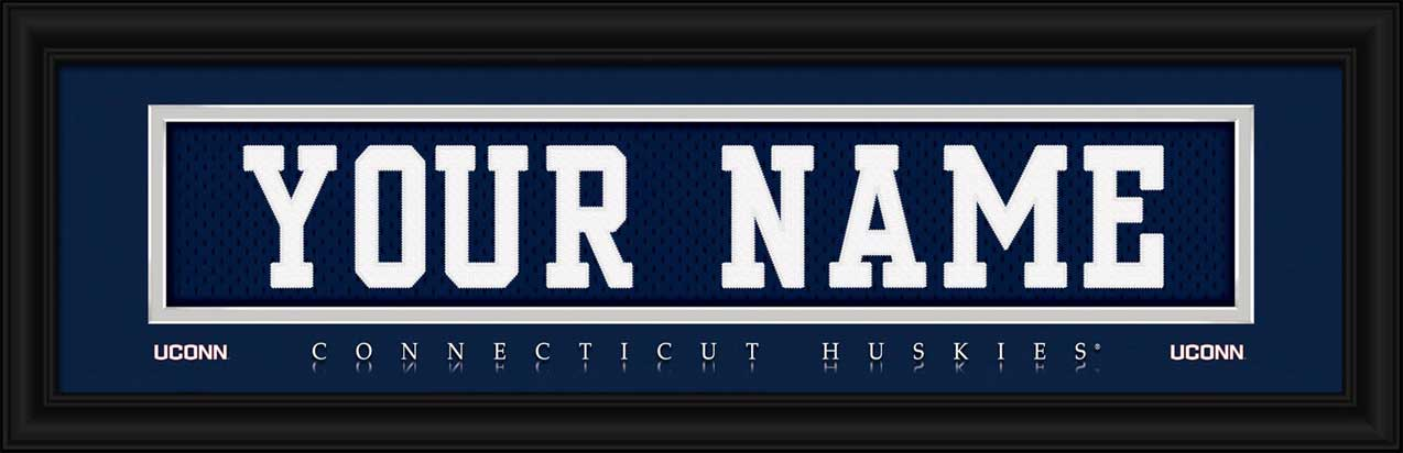 College - Connecticut Huskies - Personalized Jersey Nameplate - Framed Picture