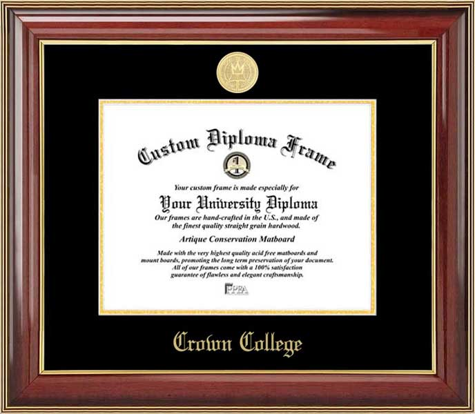 College - Crown College Storm - Gold Medallion - Mahogany Gold Trim - Diploma Frame
