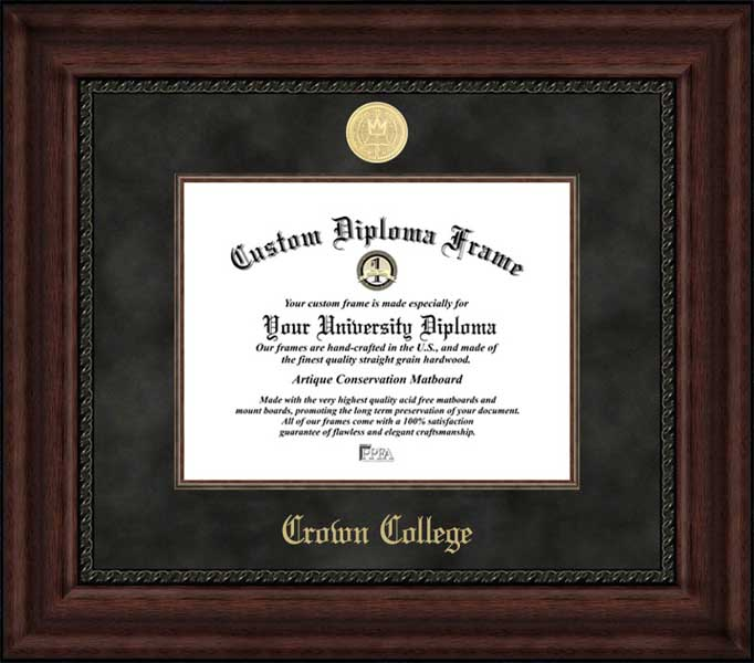 College - Crown College Storm - Gold Medallion - Suede Mat - Mahogany - Diploma Frame