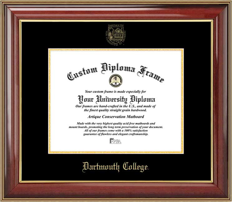 College - Dartmouth College Big Green - Embossed Seal - Mahogany Gold Trim - Diploma Frame