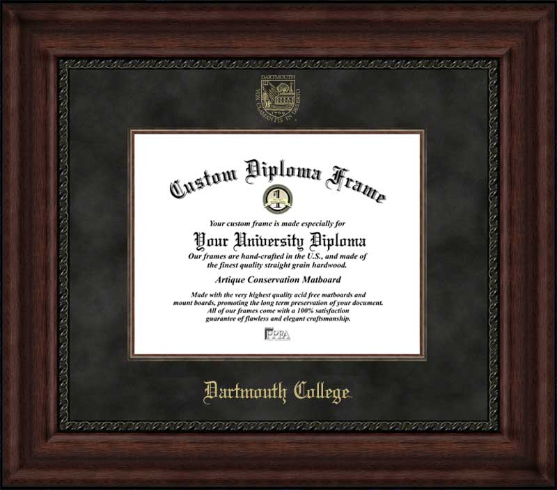 College - Dartmouth College Big Green - Embossed Seal - Suede Mat - Mahogany - Diploma Frame