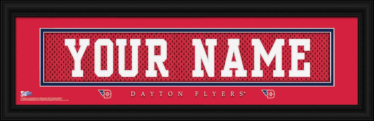 College - Dayton Flyers - Personalized Jersey Nameplate - Framed Picture