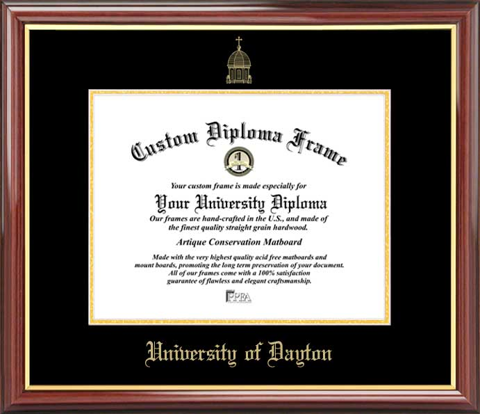 College - University of Dayton Flyers - Embossed Seal - Mahogany Gold Trim - Diploma Frame