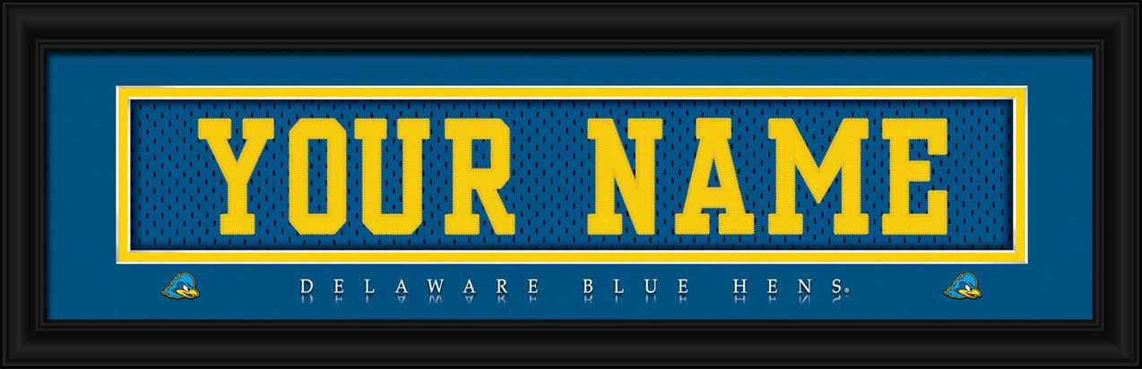 College - Delaware Fightin' Blue Hens - Personalized Jersey Nameplate - Framed Picture