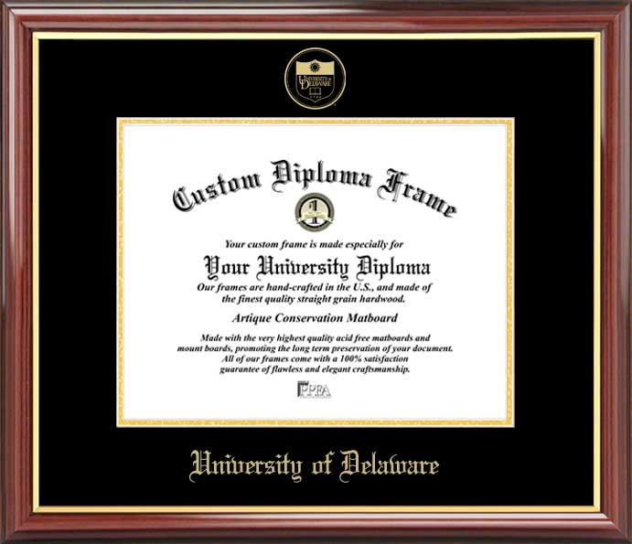 College - University of Delaware Blue Hens - Embossed Seal - Mahogany Gold Trim - Diploma Frame