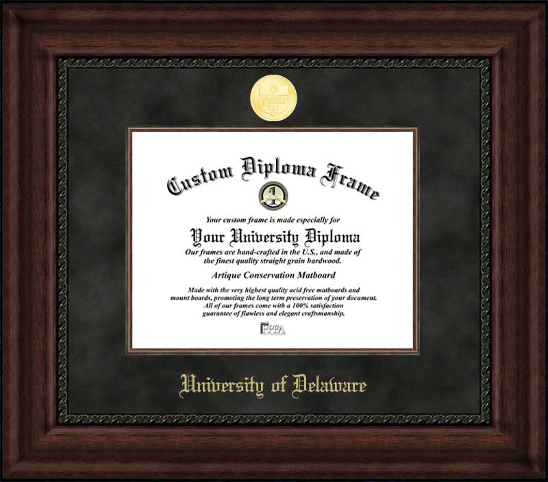 College - University of Delaware Blue Hens - Gold Medallion - Suede Mat - Mahogany - Diploma Frame