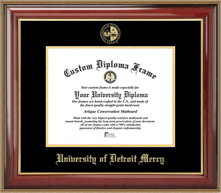 College - University of Detroit Mercy Titans - Embossed Seal - Mahogany Gold Trim - Diploma Frame