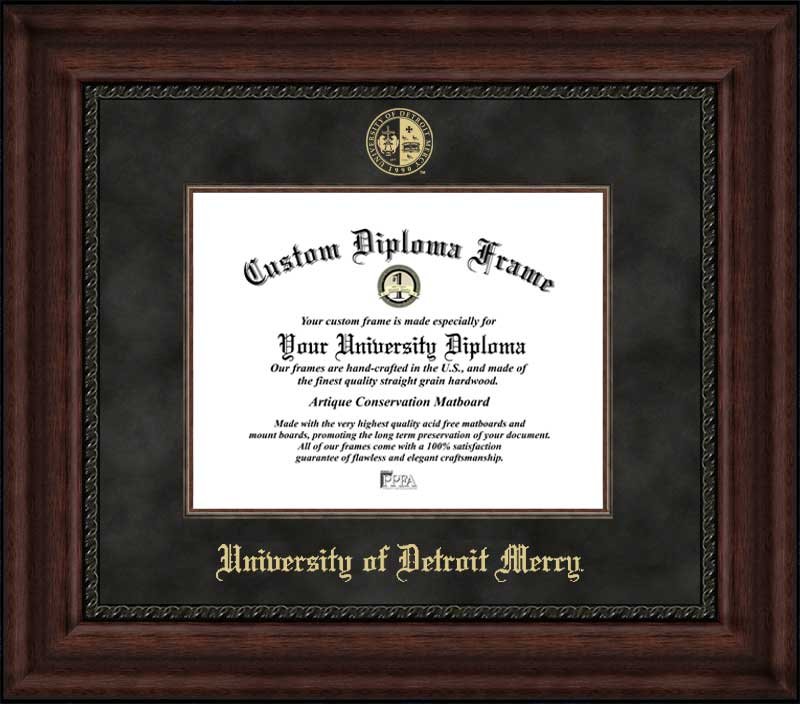 College - University of Detroit Mercy Titans - Embossed Seal - Suede Mat - Mahogany - Diploma Frame