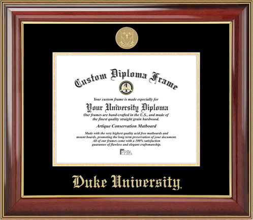 College - Duke University Blue Devils - Gold Medallion - Mahogany Gold Trim - Diploma Frame