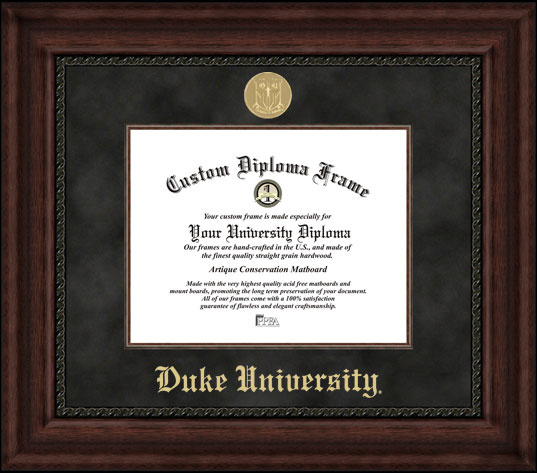 College - Duke University Blue Devils - Gold Medallion - Suede Mat - Mahogany - Diploma Frame