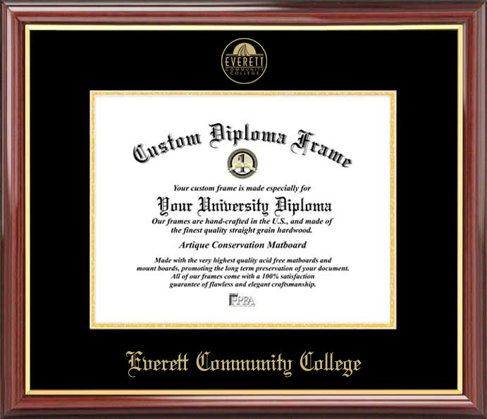 College - Everett Community College Trojans - Embossed Seal - Mahogany Gold Trim - Diploma Frame