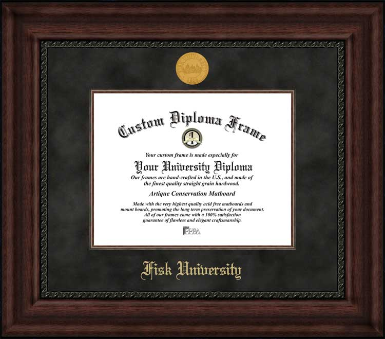 College - Fisk University Bulldogs - Gold Medallion - Suede Mat - Mahogany - Diploma Frame