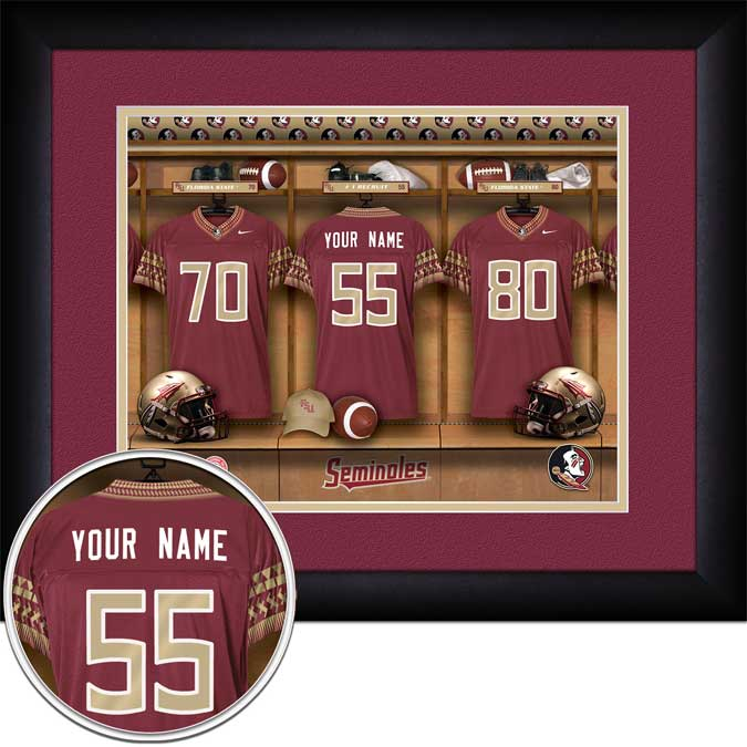 College - Florida State Seminoles - Personalized Locker Room - Framed Picture