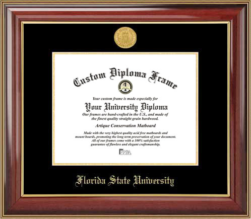 College - Florida State University Seminoles - Gold Medallion - Mahogany Gold Trim - Diploma Frame