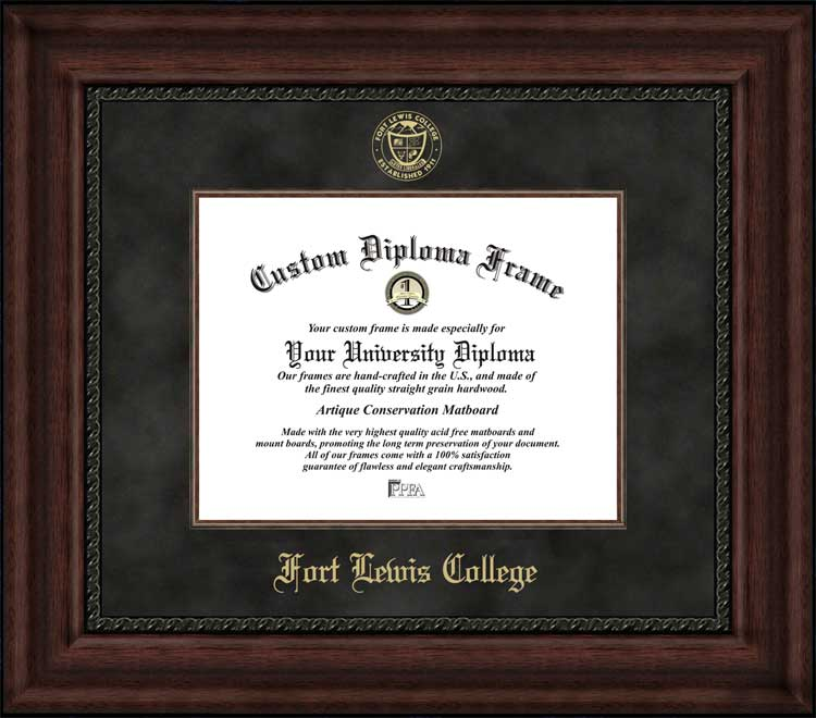 College - Fort Lewis College Skyhawks - Embossed Seal - Suede Mat - Mahogany - Diploma Frame