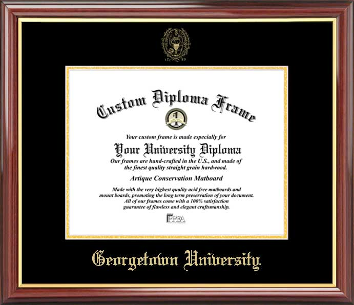 College - Georgetown University (DC) Hoyas - Embossed Seal - Mahogany Gold Trim - Diploma Frame