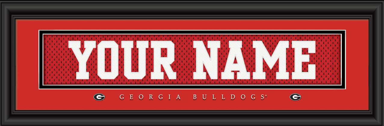 College - Georgia Bulldogs - Personalized Jersey Nameplate - Framed Picture