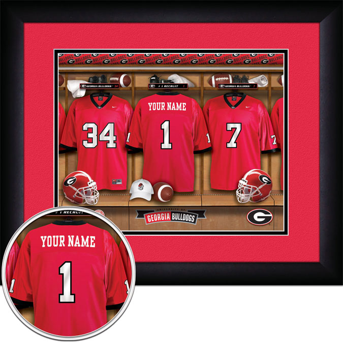 College - Georgia Bulldogs - Personalized Locker Room - Framed Picture