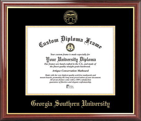 College - Georgia Southern University Eagles - Embossed Seal - Mahogany Gold Trim - Diploma Frame