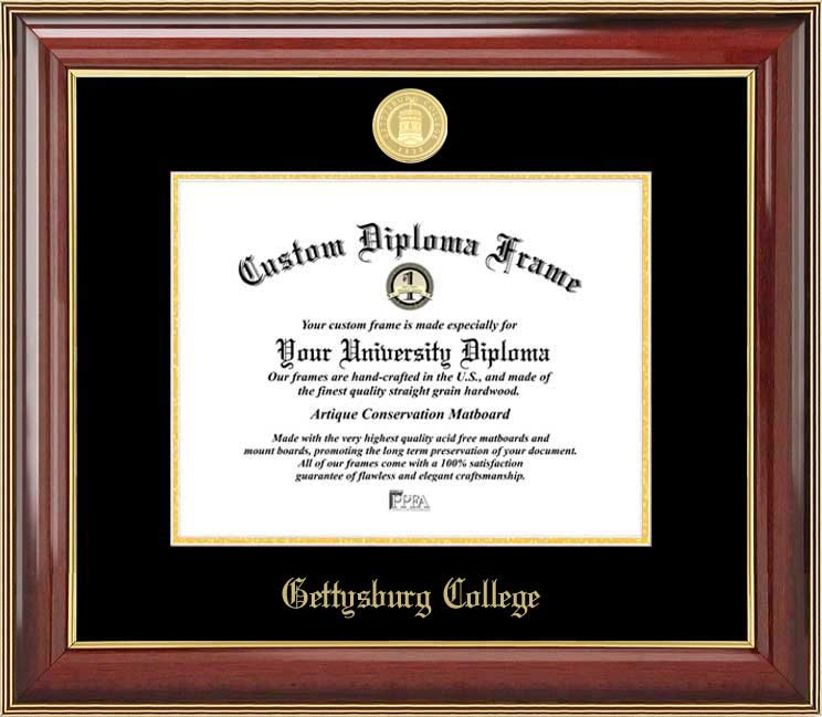 College - Gettysburg College Bullets - Gold Medallion - Mahogany Gold Trim - Diploma Frame