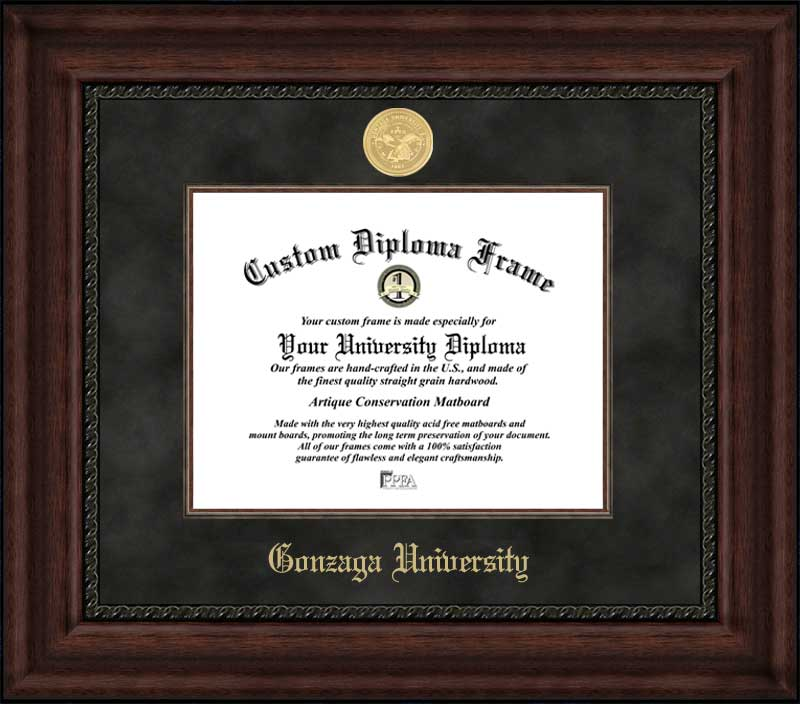 College - Gonzaga University Bulldogs - Gold Medallion - Suede Mat - Mahogany - Diploma Frame