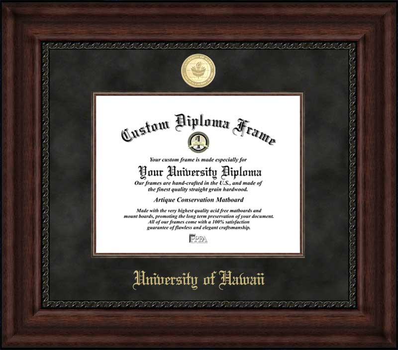College - University of Hawaii Warriors - Gold Medallion - Suede Mat - Mahogany - Diploma Frame