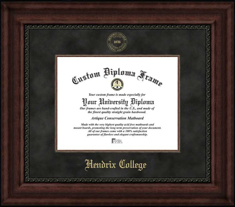College - Hendrix College Warriors - Embossed Seal - Suede Mat - Mahogany - Diploma Frame