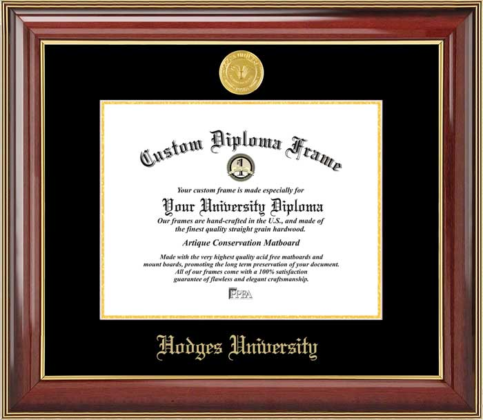 College - Hodges University  - Gold Medallion - Mahogany Gold Trim - Diploma Frame