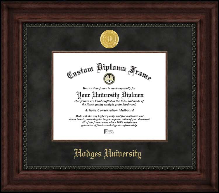 College - Hodges University  - Gold Medallion - Suede Mat - Mahogany - Diploma Frame