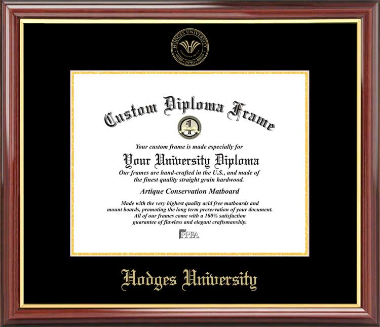 College - Hodges University  - Embossed Seal - Mahogany Gold Trim - Diploma Frame