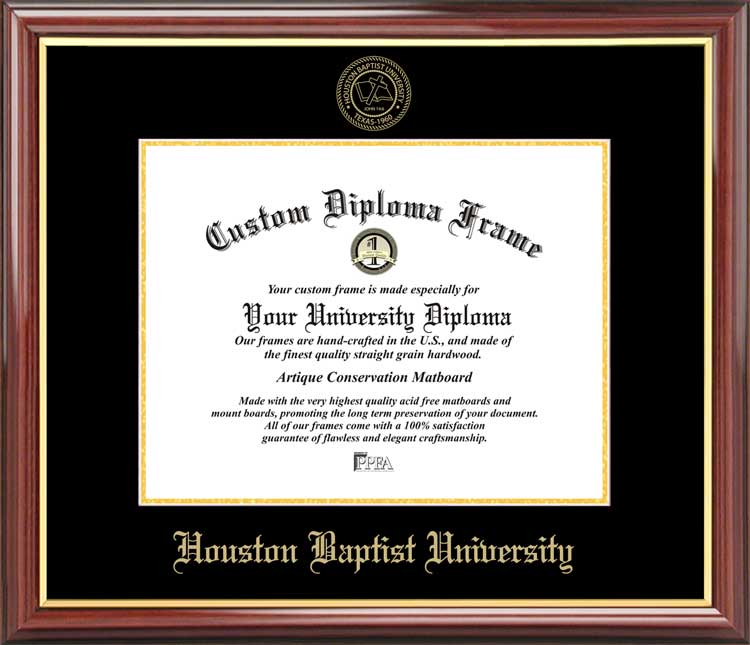 College - Houston Baptist University Huskies - Embossed Seal - Mahogany Gold Trim - Diploma Frame