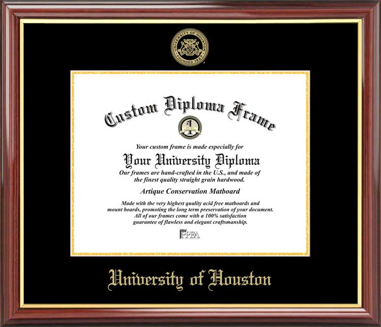 College - University of Houston Cougars - Embossed Seal - Mahogany Gold Trim - Diploma Frame