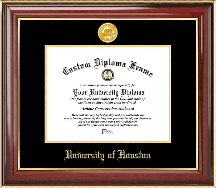 College - University of Houston Cougars - Gold Medallion - Mahogany Gold Trim - Diploma Frame
